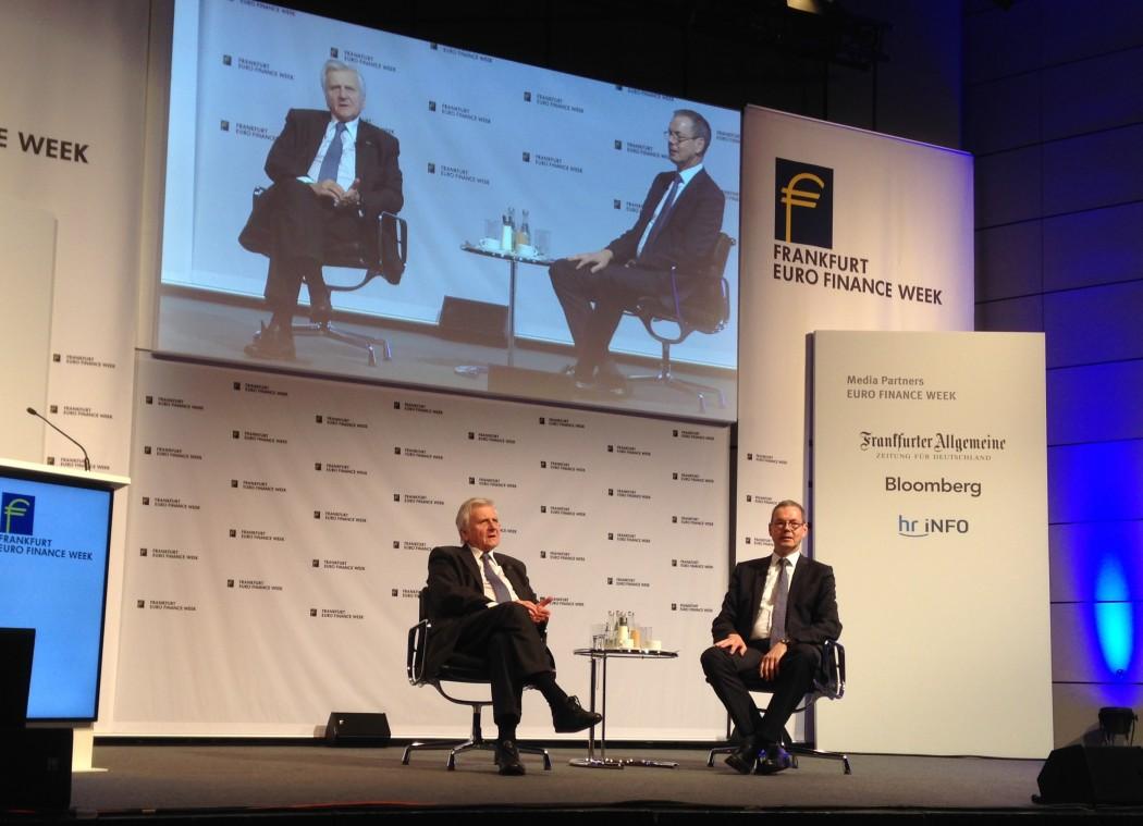 Jean-Claude Trichet und Peter Bofinger auf der Euro Finance Week