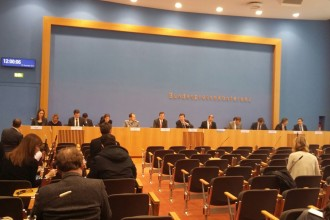 Regierungspressekonferenz in der Bunespressekonferenz in Berlin