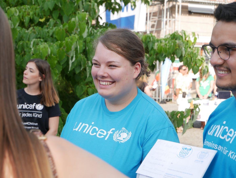 Saskia Kampf im Einsatz für Unicef. Foto: Carlotta Sauer.